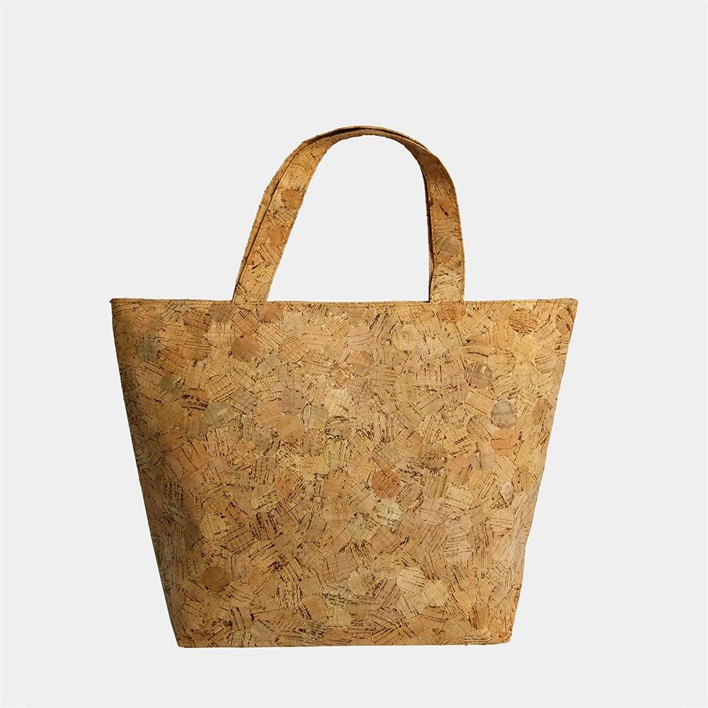 KAOGE Wood Tote Bag Women Vegan Hand bag Luxury Cork Large Capacity Bucket bag Natural Cork Handmade Vintage Handbags