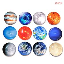 12Pcs Cosmic Moon Planet Refrigerator Fridge Magnets Glass Office Calendar Whiteboard Sticker Home Decor Souvenir