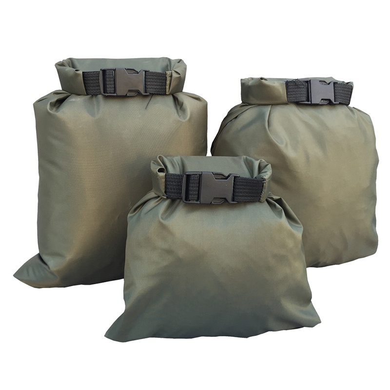 3Pcs/Set Carrying Valuable Perishable 30D Ultra-high Quality DuPont Cordura Coated Silicon Nylon Green Waterproof Bags