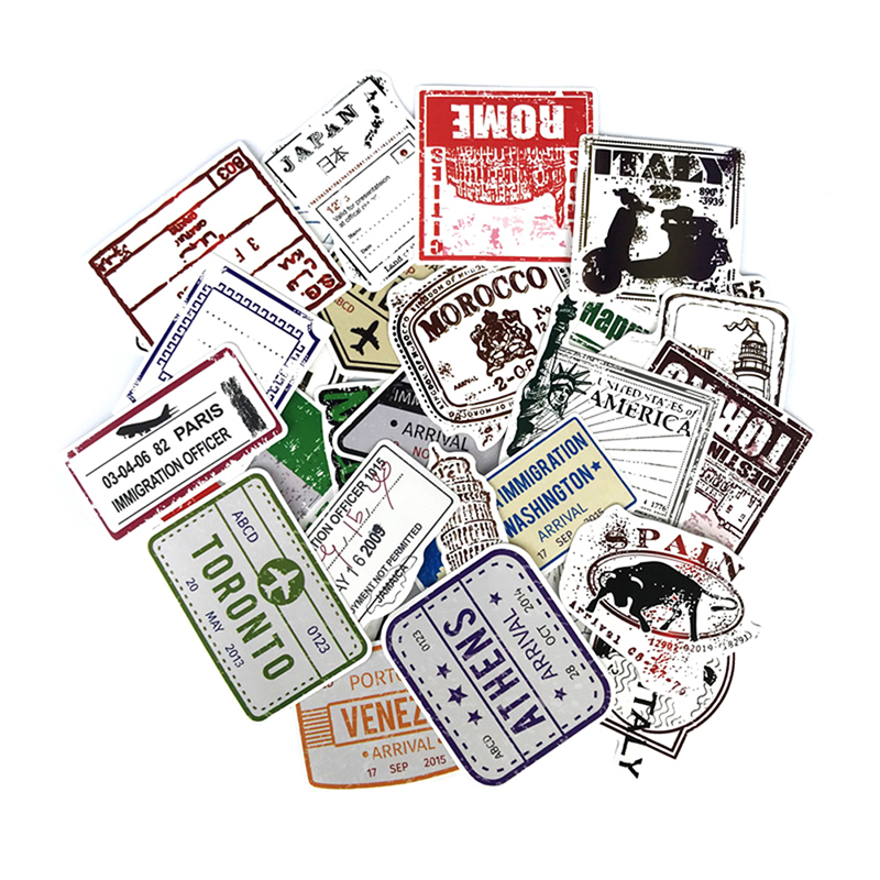 60pcs/lot Retro Traveling Boarding Pass Air Tickets Suitcase Stickers For Laptop Luggage Bags Bike Phone Cool Sticker