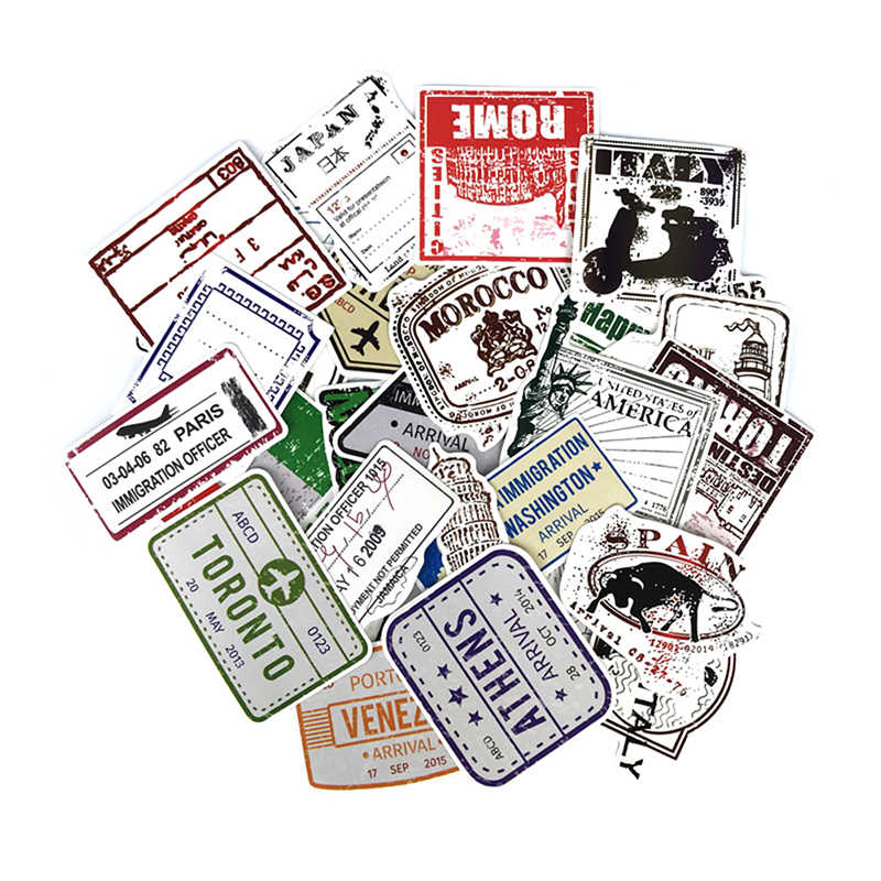60pcs Lot Retro Traveling Boarding Pass Air Tickets Suitcase Stickers For Laptop Luggage Bags Bike Phone Cool Sticker