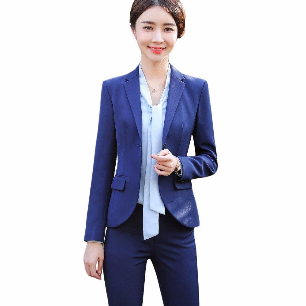 TWO PIECES SETS WOMEN SUITS 2018 officer uniforms designs women business elegant pant suits largest size 4XL