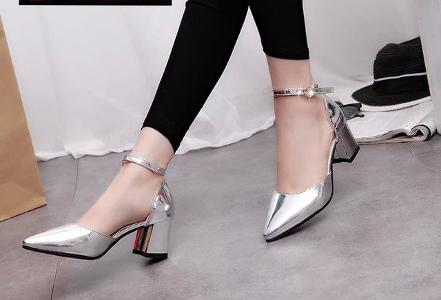 Summer and autumn women's sandals pointed word buckle in the thick with patent leather silver high heels tide shoes women's shoe