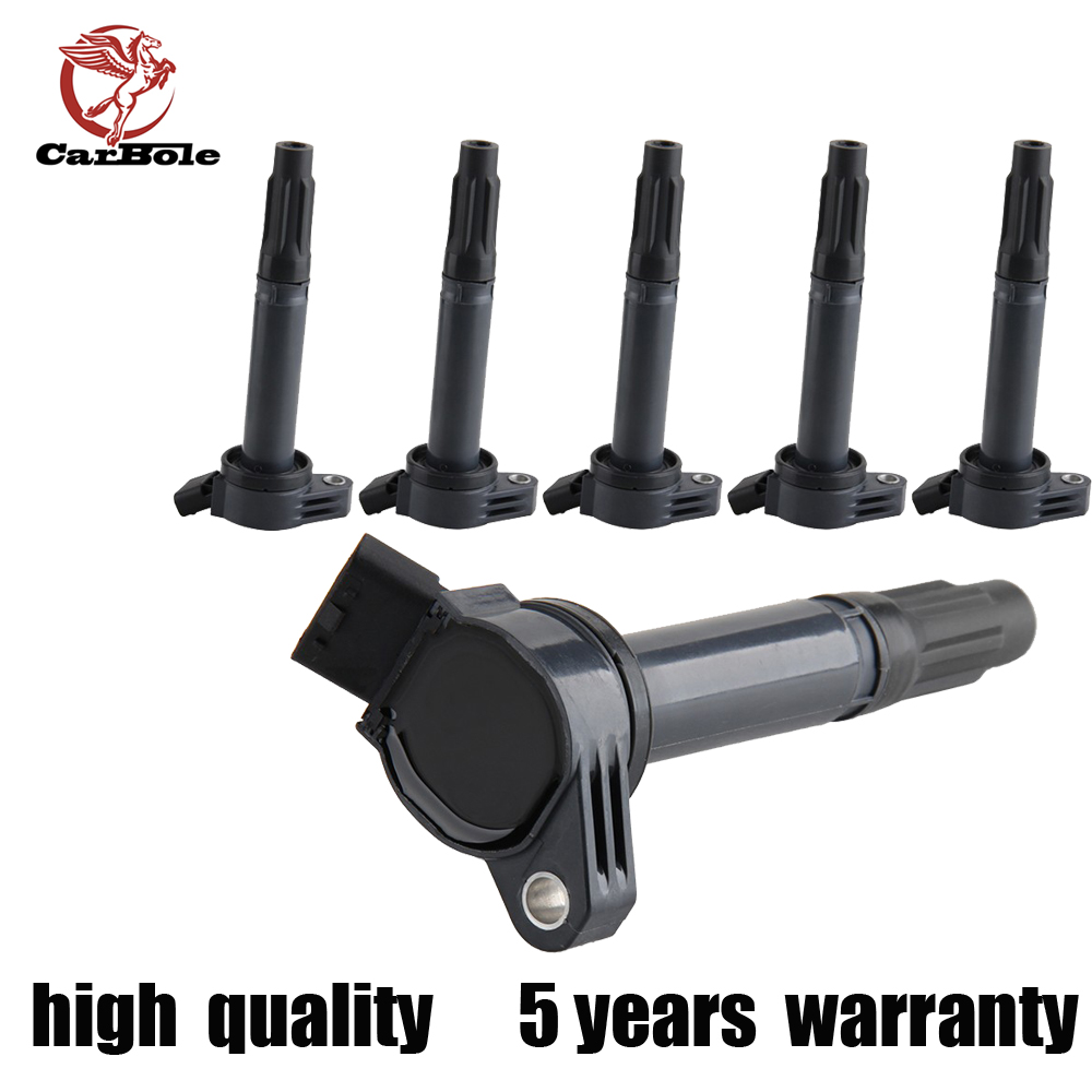 CARBOLE  6 PCS NEW Ignition Coil on Plug Pack For VARIOUS VEHICLES 3.5L V6 UF487 C1601 new ignition coil use oe no 27301 04000 for hyundai