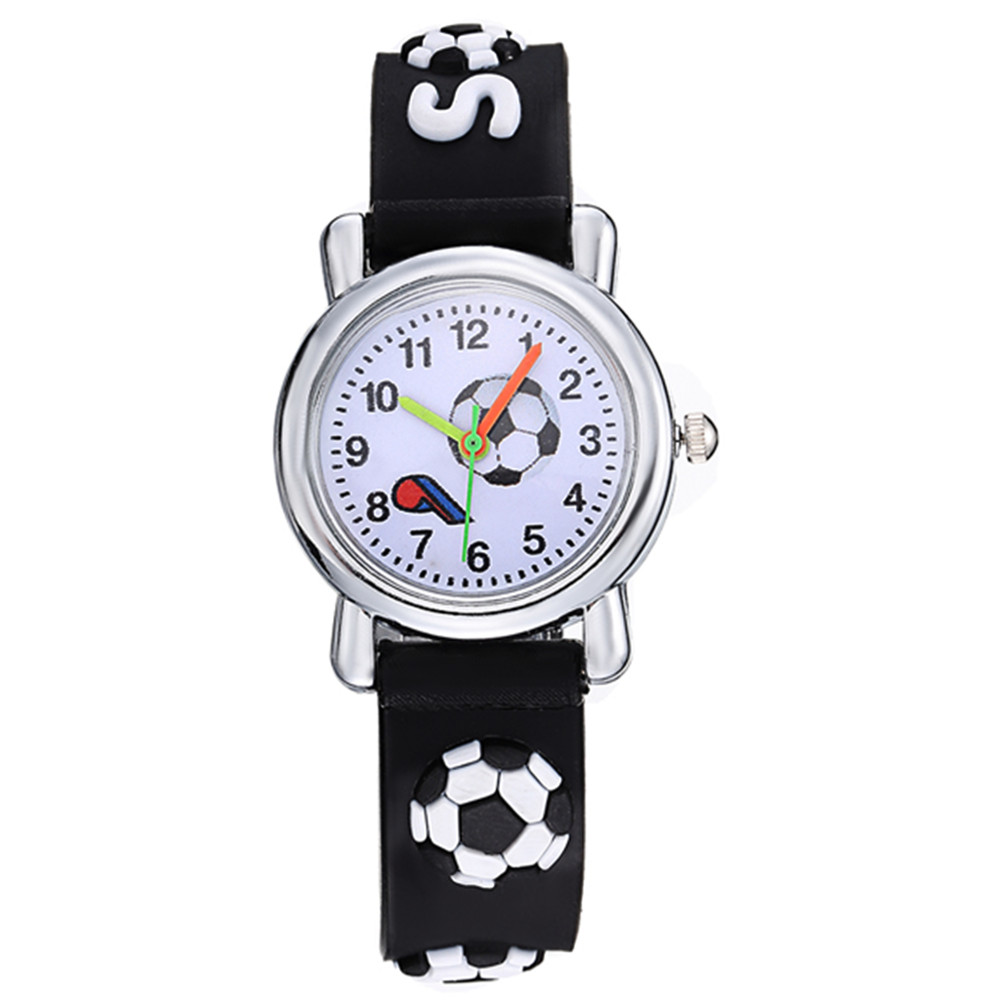 Cartoon Football Style Children Students Girls Boys Nylon Strap Waterproof Quartz Wrist Watch 04 Watches