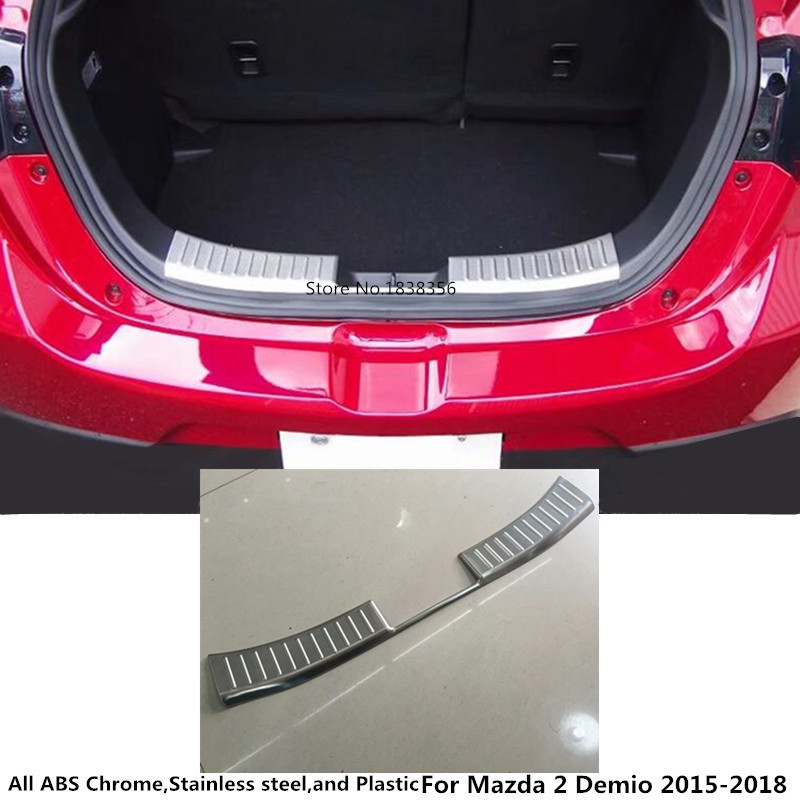 For Mazda 2 Demio 2015 2016 2017 2018 car styling inner inside Rear Bumper trim Stainless Steel Scuff Sill trunk plate pedal