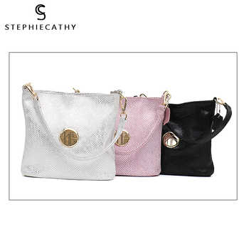 SC Brand Women Top-handle Bag Genuine Cow Leather Bucket Fashion Snake Pattern High Quality Leather Hobo Shoulder&Crossbody