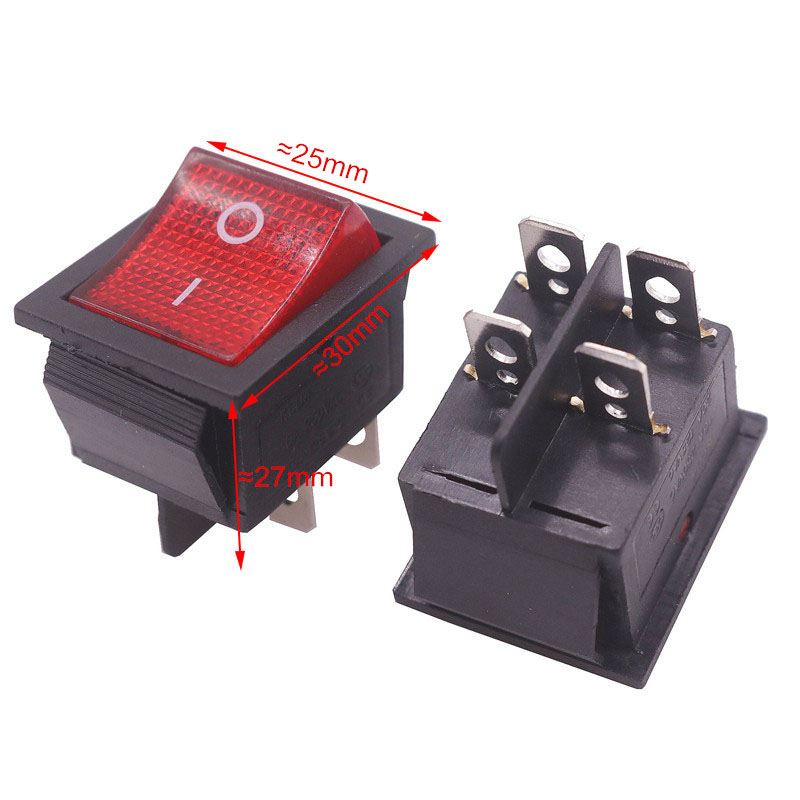 2 Pcs Red Button Rocker Switch 4 Plugs 30 * 25 * 27mm 16A 250v/ 20A 125V AC Electrical Equipment Switches Wholesale kw11 7 1 micro switches pair ac 250v 16a