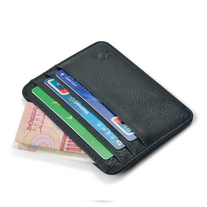 Chegada nova Mini Carteiras 12 Cores Ultra-fino Titular Do Cartão Caso de Cartão de Couro Dos Homens de Negócios Bolsa de Couro Genuíno Pequeno 6 Slots