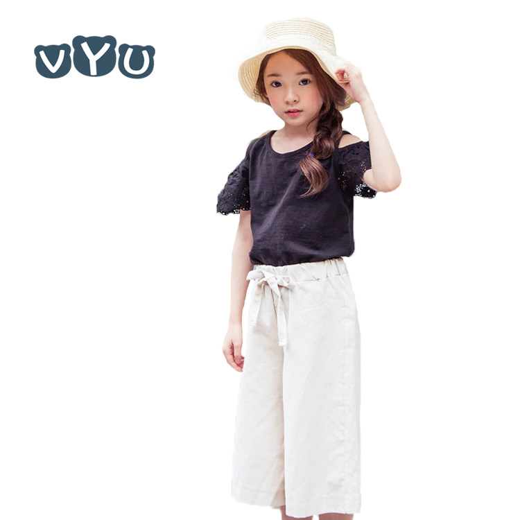 VYU Children Clothing Suit 2017 Summer Embroidery Causal Kids Girls Cotton Shoulder T-shirt + Wide Leg Shorts Pants 2 Piece Sets