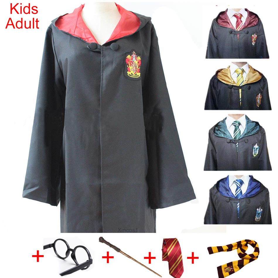 For Harris Potter Costume Clothes Robe Cloak with Tie Scarf Wand Glasses Ravenclaw Gryffindor Hufflepuff Slytherin Cosplay(China)