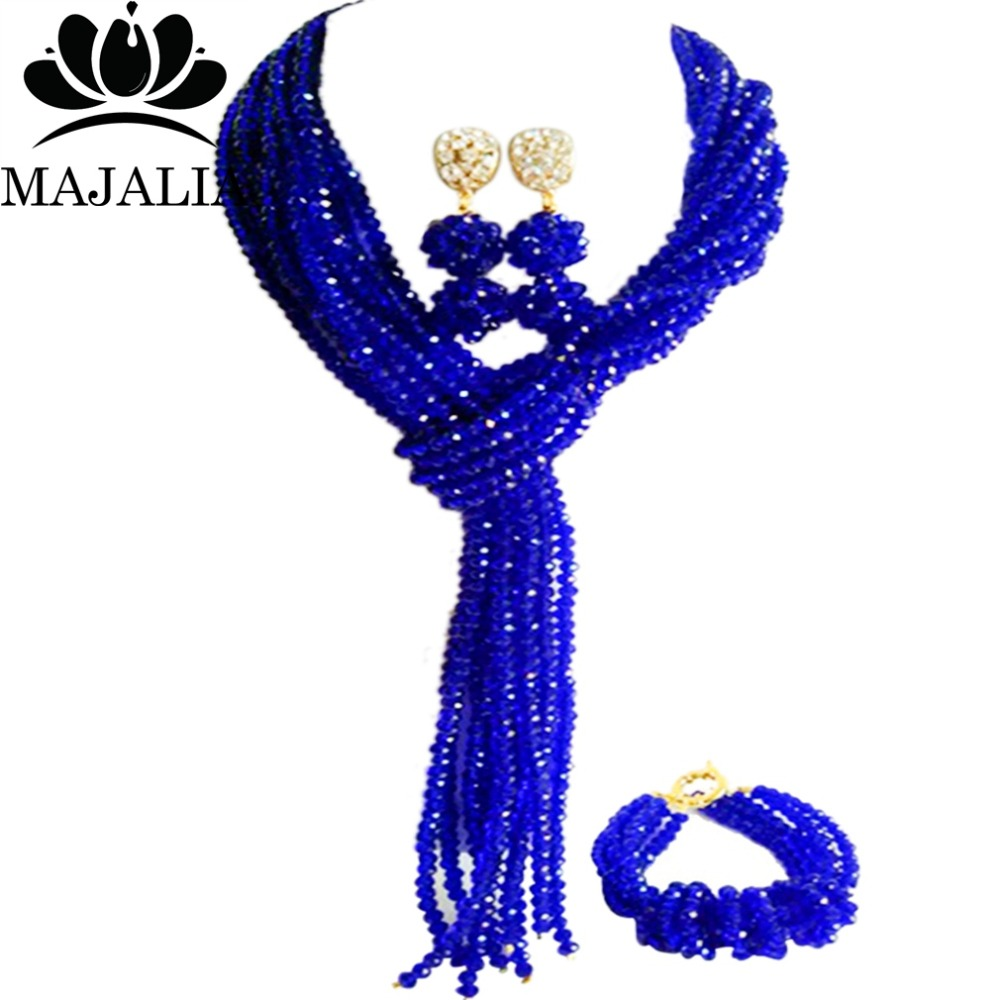 Majalia Classic Nigerian Wedding African Jewelery Set Royal blue Crystal Necklace Bride Jewelry Sets Free Shipping 8JU023