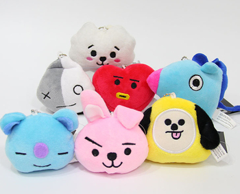Kpop home South Korea purchase BT21 Bulletproof Juvenile BTS Head Plush Keychain Doll Pendant Bags Ornaments bts taehyung warriors