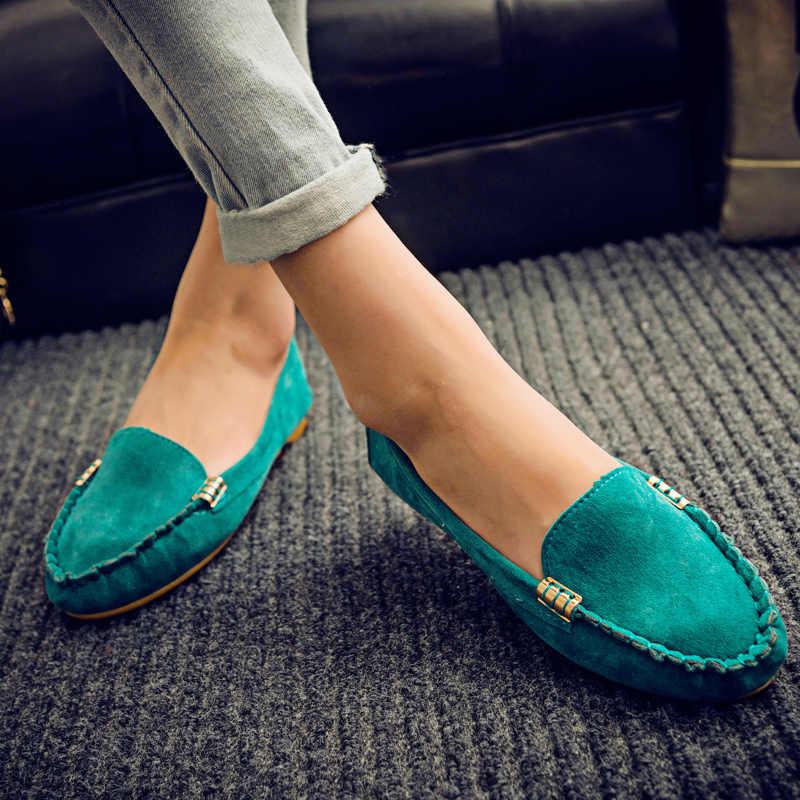 Zapatos planos de mujer 2019 talla grande 35-43 mocasines Color caramelo deslizamiento en zapatos planos Ballet planos cómodos señoras zapato