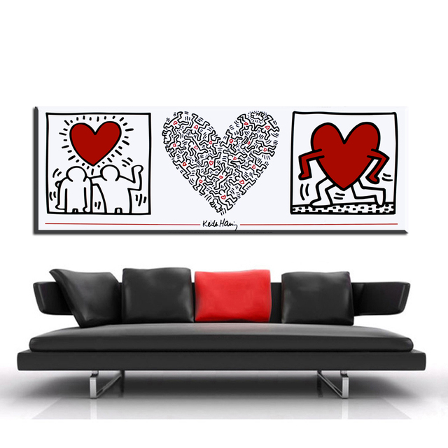 ZZ1399 Modern Decorative Canvas Art Hearts Keith Haring Canvas Oil Art  Painting Wall Pictures For Livingroom Bedroom Decoration Part 87