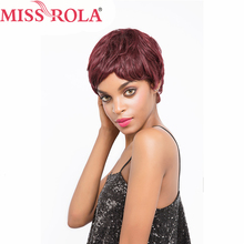Miss Rola hair Brazilian Straight Hair Short Human Hair Wigs #99J Whole Machine  Wig 360 Full With Hair Non Remy
