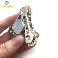 Leadingstar Gear Fidget Spinner Brass Tri Spinning Hand Toys Stress Anxiety Reducer Focus Hand Spinner Four Gears Toy for Adult