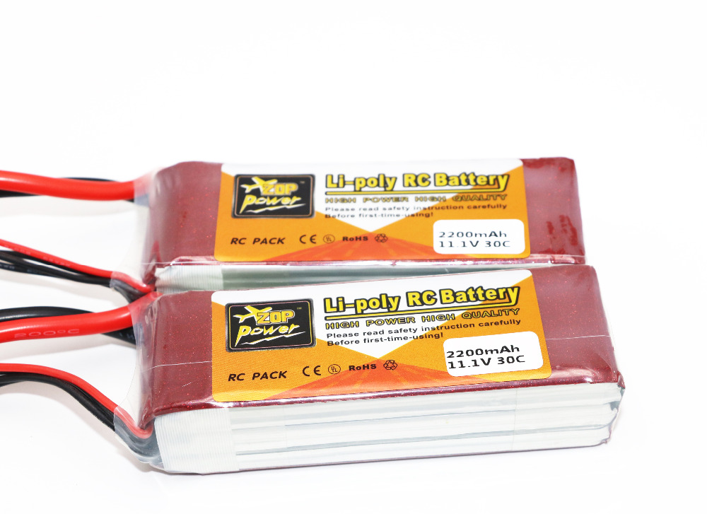 2pcs lot ZOP Power 3S 11 1V 2200mAh 30C Lipo Battery T Plug For font b
