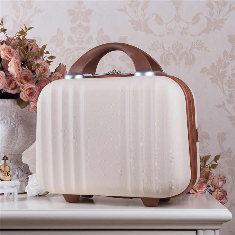 Women Bag Fashion Light cute Suitcase 14 Inches Mini Zipper Lady Business ABS Cosmetic case Suitcase for Makeup Bag Toiletry Bag