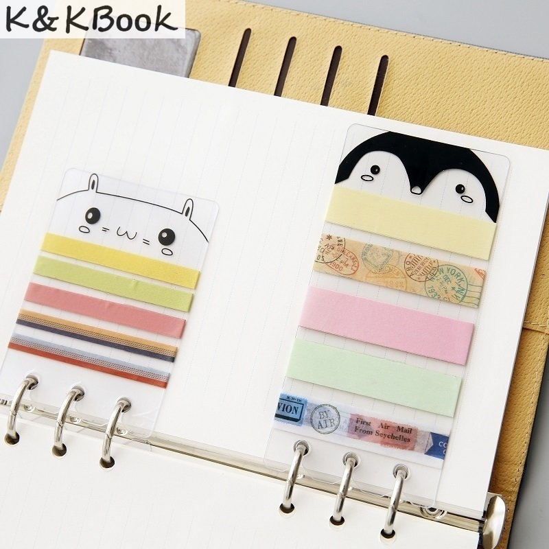 K&KBOOK A5/A6 PVC Washi Tape Sheet Planner Dividers Subpackage Plate for Spiral Notebook Organizer Accessories inner page binder
