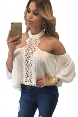 2017 mujeres del estilo del verano sexy hombro tops más reciente mujer camisola blanca chocker cuello hombros desnudos flare blusa entallada lc25765