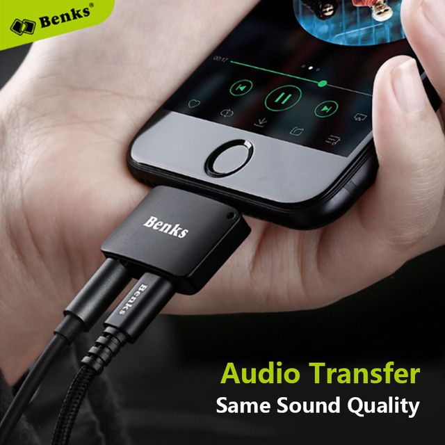2 In 1 Lightning Audio Adapter Listen Music and Charging Phone Same time Benks Lightning Audio Charger 5V/1A Output Connector