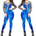 4409 Sexy women denim комбинезон кружева вставки джинсы печати глубокий v шеи denim strech джинсы общая боди женщины комбинезон
