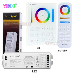 MiLight 2.4G wireless 8 Zone FUT089 remote;B8 Wall-mounted Touch Panel;LS2 5IN 1smart led controller for RGB+CCT led strip