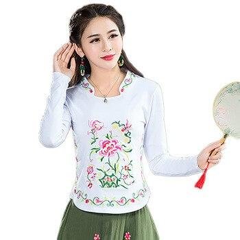e7b5405992a Вышивка китайский Stlye Harajuku блузка плюс Размеры Blusa Feminina лето Топы  Blusas рубашки женские блузки Camisa Feminina