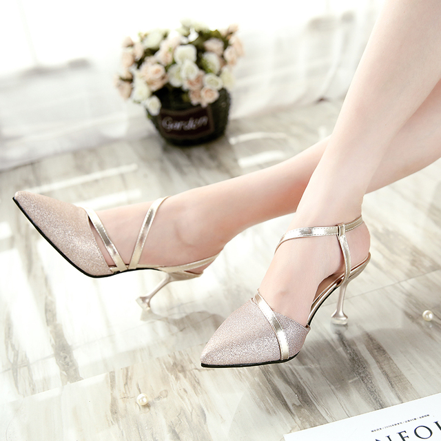Women Wedding Shoes High Heels Pumps Pointed Toe Slingbacks Dress shoes Woman Summer Shoes Silver sandals Zapatos Mujer 3641 1