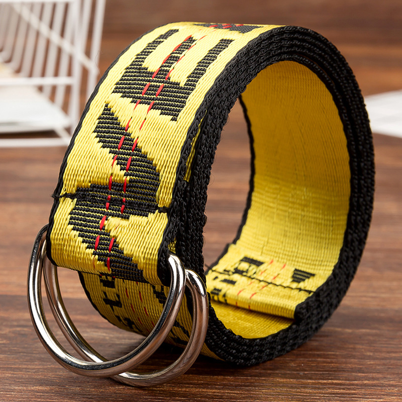 Women   Belts   Fashion Personality Letter OF   Belts   European and American Style High Quality Canvas   Belt   Big Size   Belts