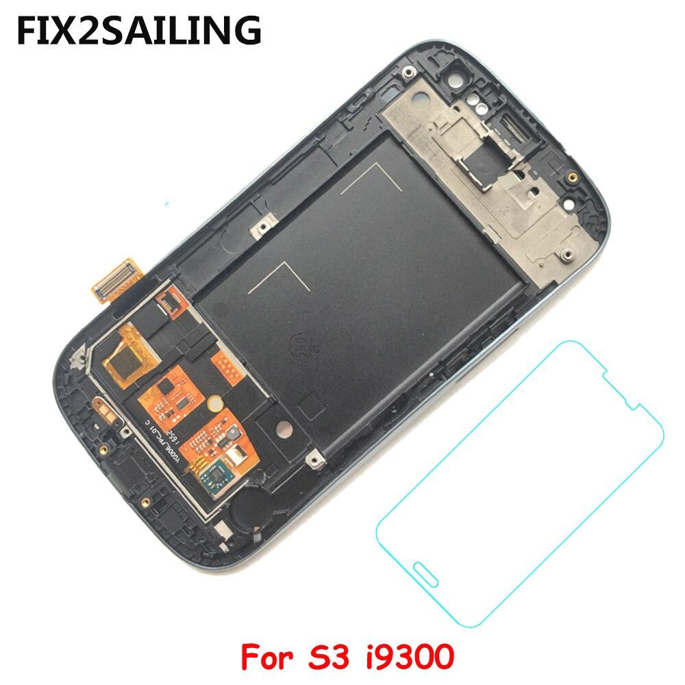 Pour Samsung Galaxy S3 i9300 Super LCD Affichage 100% Testé Écran Tactile Digitizer Assemblée Avec Trempé Verre Noir/Blanc