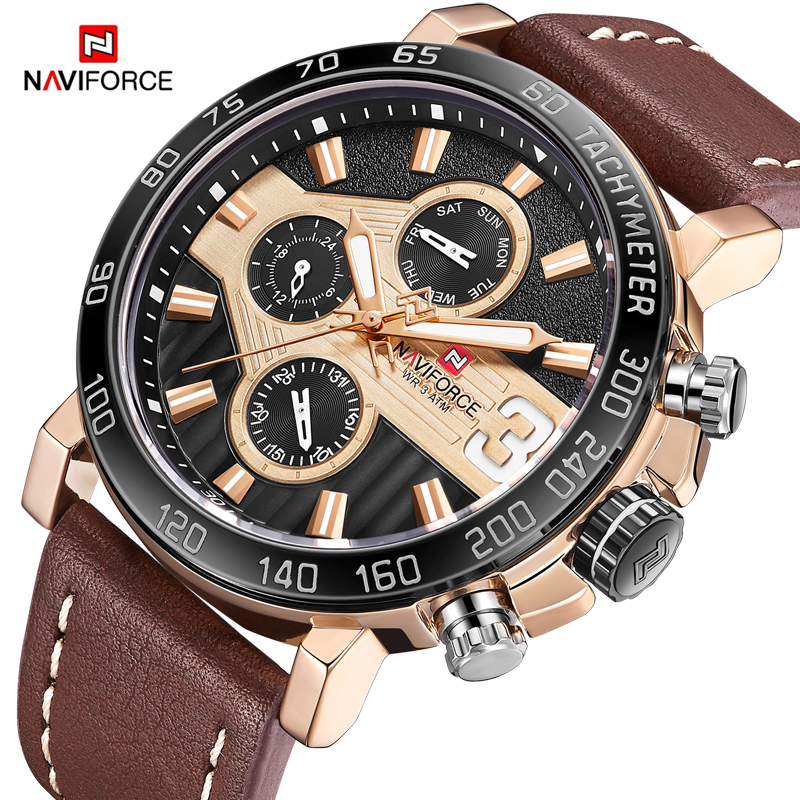 NAVIFORCE Top Luxury Brand Fashion Men's Watches Analog Quartz Watch Clock Rose Gold Leather Strap Male Hour Relogio Masculino gold sliver leather analog fashion