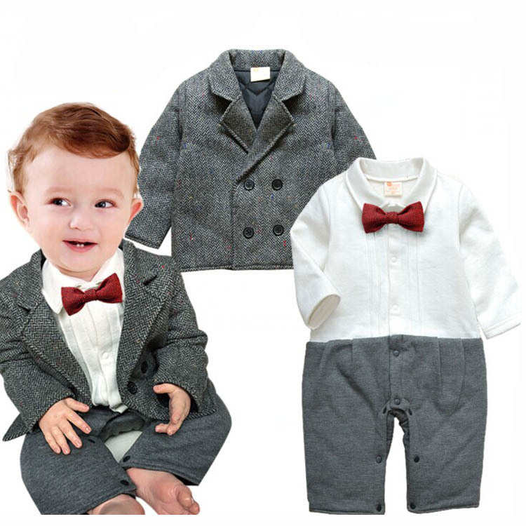 80eefe43f87 3PCS 0-2 autumn spring designer newborn toddler clothes baby boys Gentleman  jacket coat+rompers+tie brand infant clothing BC1192