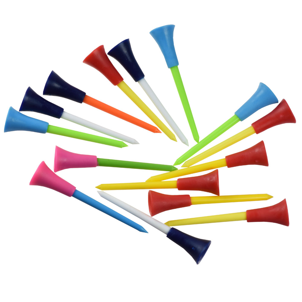50 Pcs/bag Multi Color Plastic Golf Tees 83mm Durable Rubber Cushion Top Golf Tee Golf Accessories