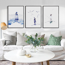 Modern Minimalism Watercolor Cloud Woods Abstract Girl Canvas Painting Art Print Poster Picture Wall Office Bedroom Home Decor