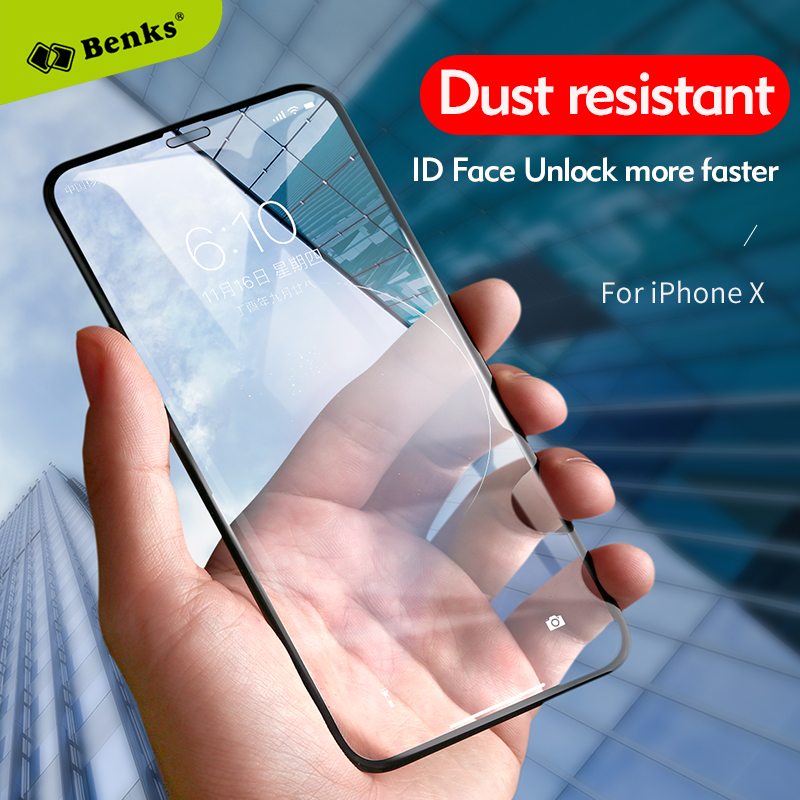 Anti dust full cover tempered glass for Iphone X Benks Accessory Glass 2 By Corning High hardness glass for Iphone X Iphonex