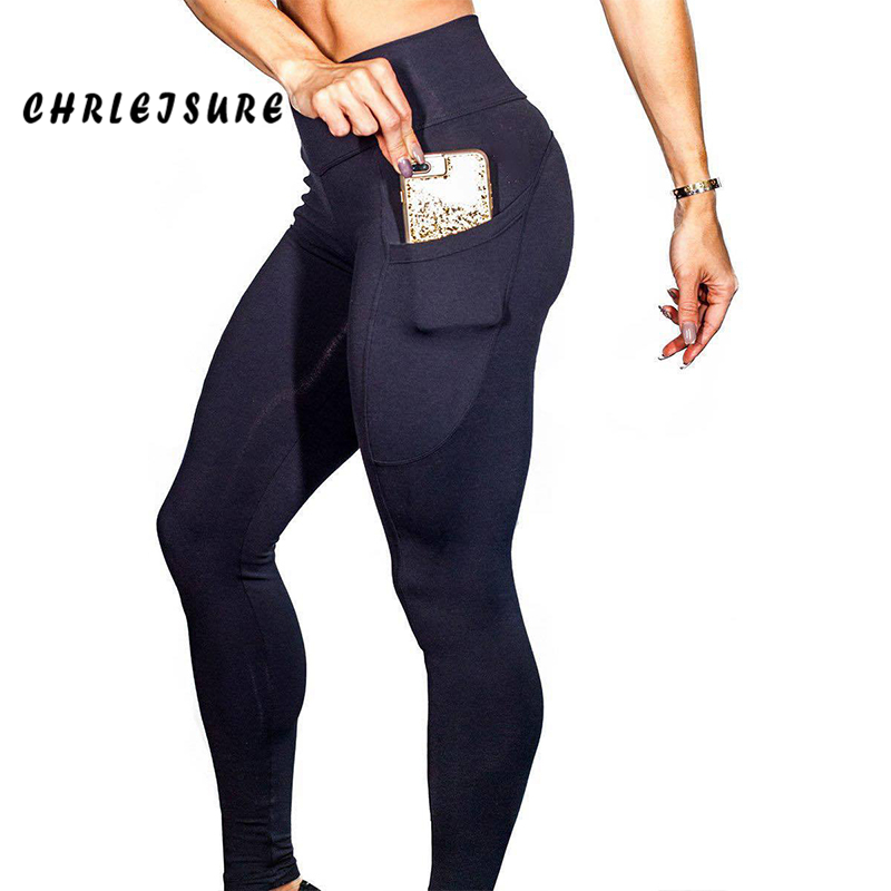 CHRLEISURE Fitness Leggings Women Work Out Side Pockets Polyester Solid High Waist Trousers Elasticity  Lady's Legging Push Up