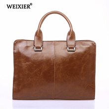WEIXIER Hot Classic Design Retro Style Mens PU Handbag Solid Color Business Travel Soft Material Multi-Function