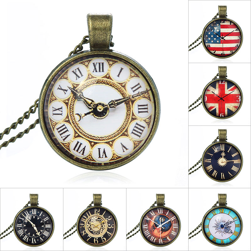 2017 New Fashion Cabochon Jewelry Vintage Choker Antique Gold Alloy Galaxy Collar Fake Clock Statement Necklace For Women Men
