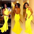 Free Shipping Yellow Colour Sexy Trumpet Mermaid High Neck Sleeveless Long Backless Prom Dress WH549