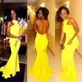 Frete grátis amarelo Sexy Trumpet sereia gola alta sem mangas Backless vestido de baile WH549