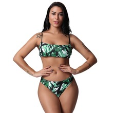Summer Women Bikini  Swimwear Female Leaves Print Bandage Set Push-Up Brazilian Beachwear Swim