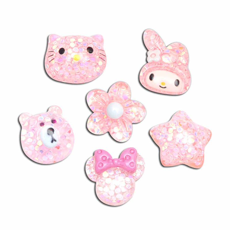 20Pcs Mixed Pink Bling Resin Cabochon Decoration Crafts Flatback Kawaii DIY Embellishments For Scrapbooking Accessories