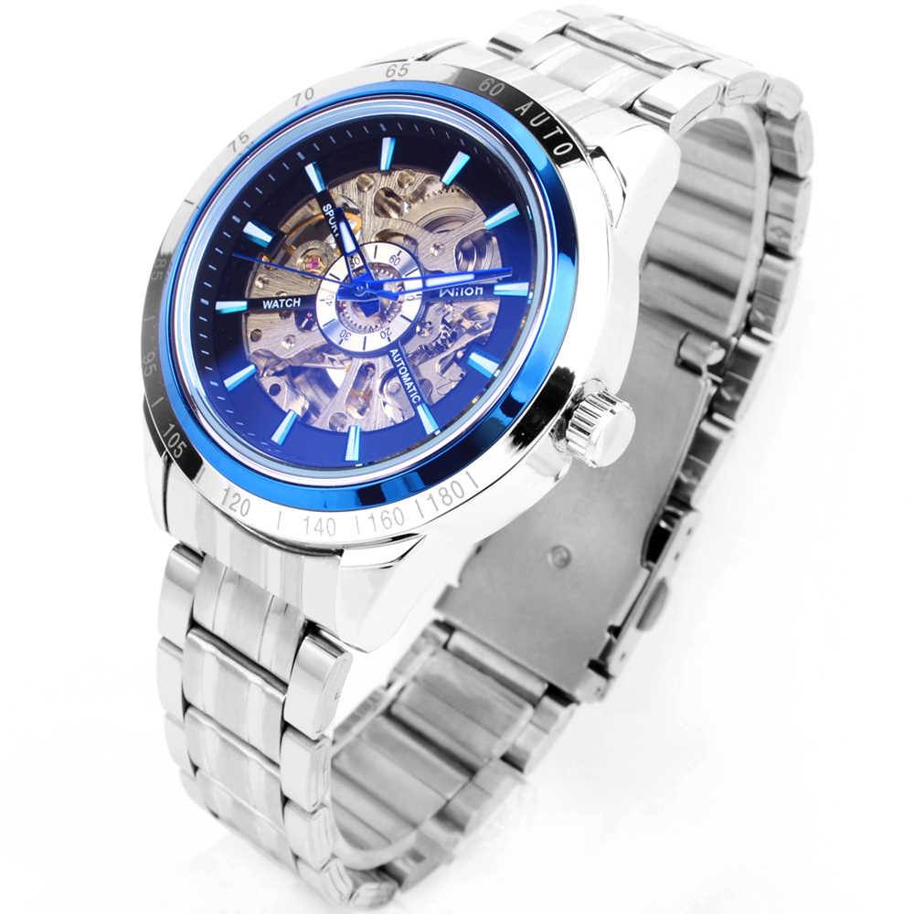 The new Veyron Wilon popular double-sided hollow automatic mechanical watches blue circle's personality color Watch
