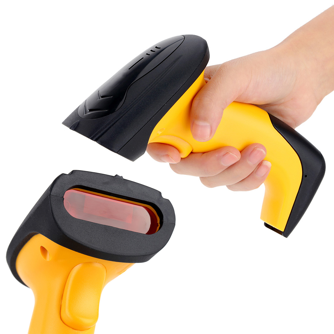 Wireless Laser Barcode Scanner Label Reader with Charger Base Handheld Barcode Scanning Gun With Storage for Supermarket Shop cheap 1d wireless laser scanner portable barcode reader with receiver no need drive handheld machine for warehouse supermarket