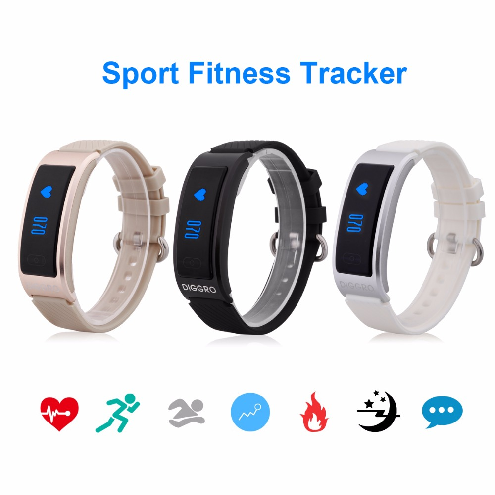 Original Diggro DF23 Heart Rate Monitor Smart Bracelet Bluetooth 4.0 IP68 Swimming Sport Tracker Wristband for Android IOS Phone