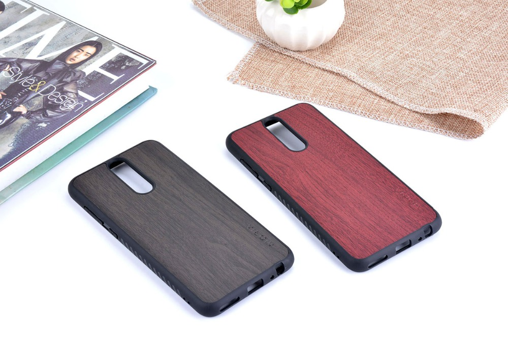 Vintage Case For Huawei Mate 10 Lite Soft TPU With Wood PU Leather Skin Covers Coque Fundas Shock Resistance Material