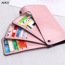все цены на AOEO Long Clutch Bag Credit Card ID Holder Women Wallet 15 Multi-card Position Candy Color Rotating Design Bank Cover Cardholder онлайн