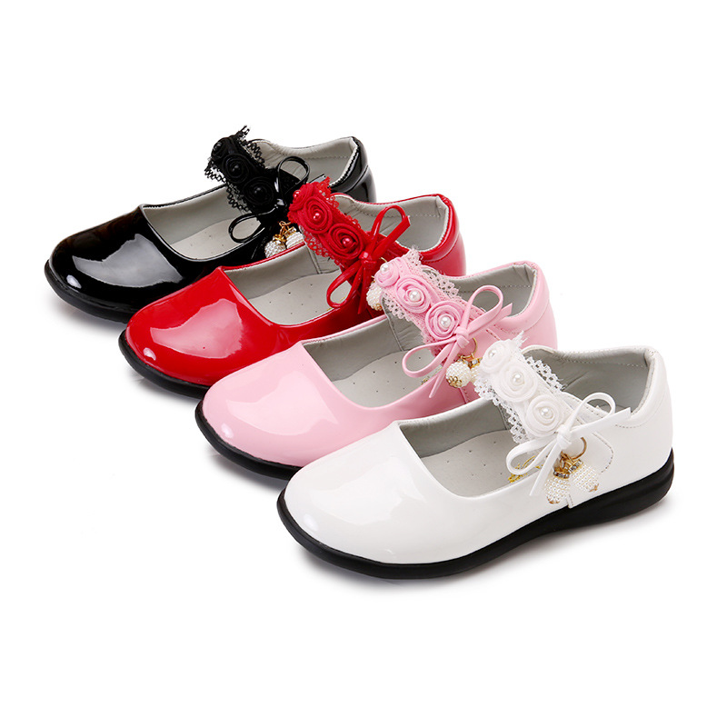Kids Shoes Girls Leather Black Baby-Girl White Student Child 3T 7T 5T 6T 9T 4T 12T 10T